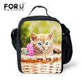 FORUDESIGNS Kawaii Kids Lunch Bag Cute Pet Puppies Insulated  Picnic Food Container for Children Thermal Insulation