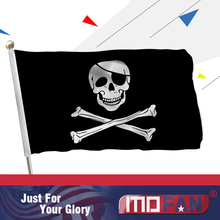 MOFAN 3×5 Foot Jolly Roger Flag with Patch – Canvas Header and Double Stitched – Pirate Flags Polyester with Brass Grommets