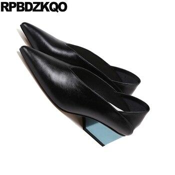 Pompe Multicolori | Scarpe Tacco Medio Multi Color Block Signore A Piedi Pompe Winkle Picker Muli Scarpe A Punta Pantofola Sandali Di Cuoio Genuino