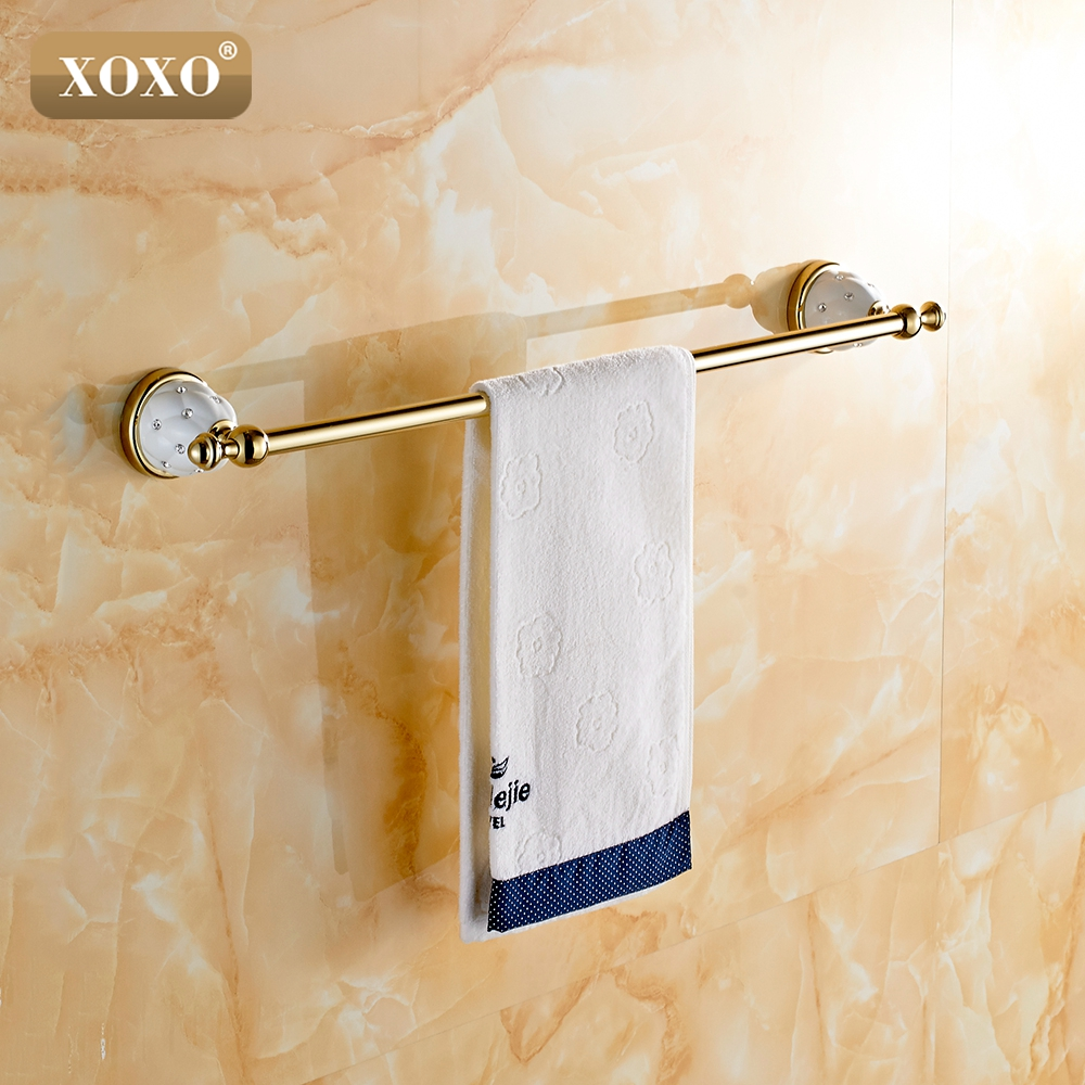XOXOSingle Towel Bar,Towel Holder, Towel rack  Solid Brass & Crystal Made,Chrome Finish, Bathroom Accessories 10024GT jomoo high quality brass alloy towel bar set rack tower holder hanger bathroom wall mounted hotel shelf chrome finish design