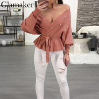 Glamaker Pearl off shoulder sexy pullover sweater Women ruffle hem sash casual female jumper Party autumn summer sweater 2018