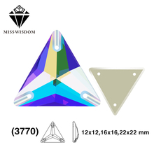 12mm/16mm/22mm 2018 New product high quality flat glass double hole sew-on rhinestones Triangle AB color diy accessories