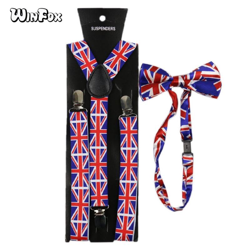 Winfox Fashion Navy Red British Flag Suspenders Bowtie Set Women Men Suspenders Braces Bow Tie