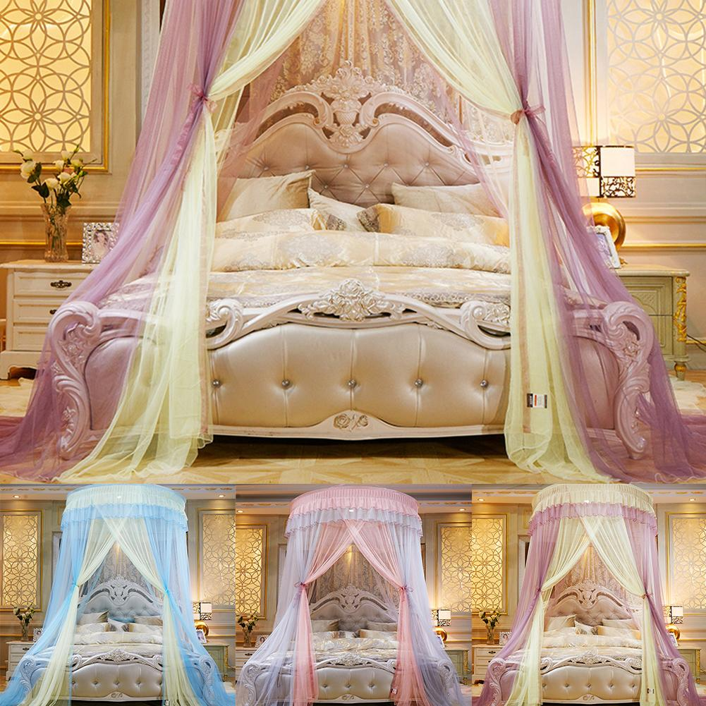 Home Bedding Dome Bed Canopy Princess Queen Mosquito Net Floor Length Curtain Gauze Sheer Dome Hanging Bed Valance