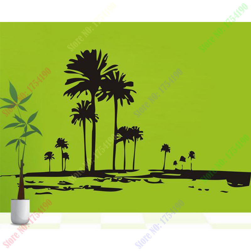 tall palms tree wall decal retro wall deor of trees unique