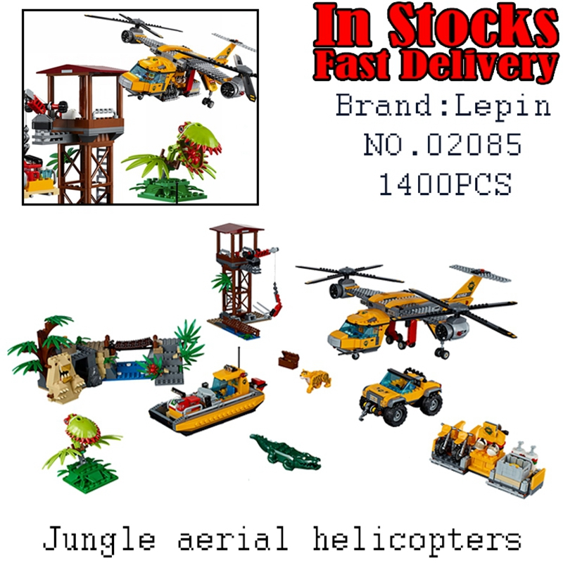 LEPIN City Jungle aerial helicopters 02085 1400PCS Building Blocks Bricks educational toys for children gifts brinquedos 60162 lepin 16008 cartoon castle city model building blocks brinquedos kid educational toys for children gifts compatible blocks 71040