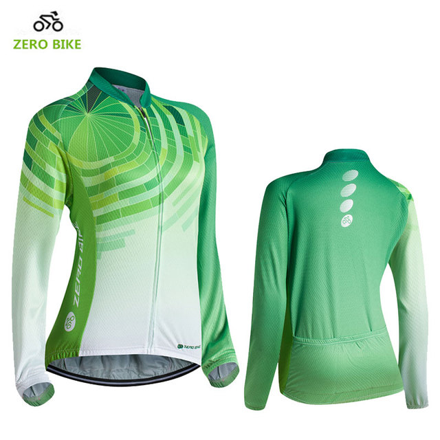 ZEROBIKE New Arrival Women's Long Sleeve Cycling Jersey Tops 100%Polyester Quick dry Sports Bike Clothing Ropa Ciclismo US Size