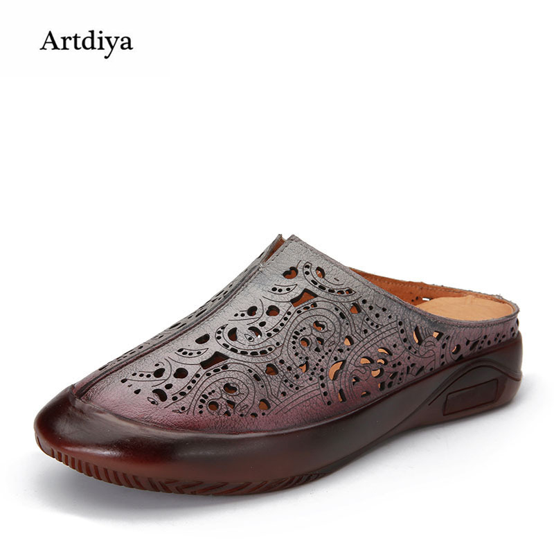 Artdiya Summer New Genuine Leather Women Sandals Hollow Retro Round Toe Slippers Soft Sole Comfortable Handmade Sandals 5531-2