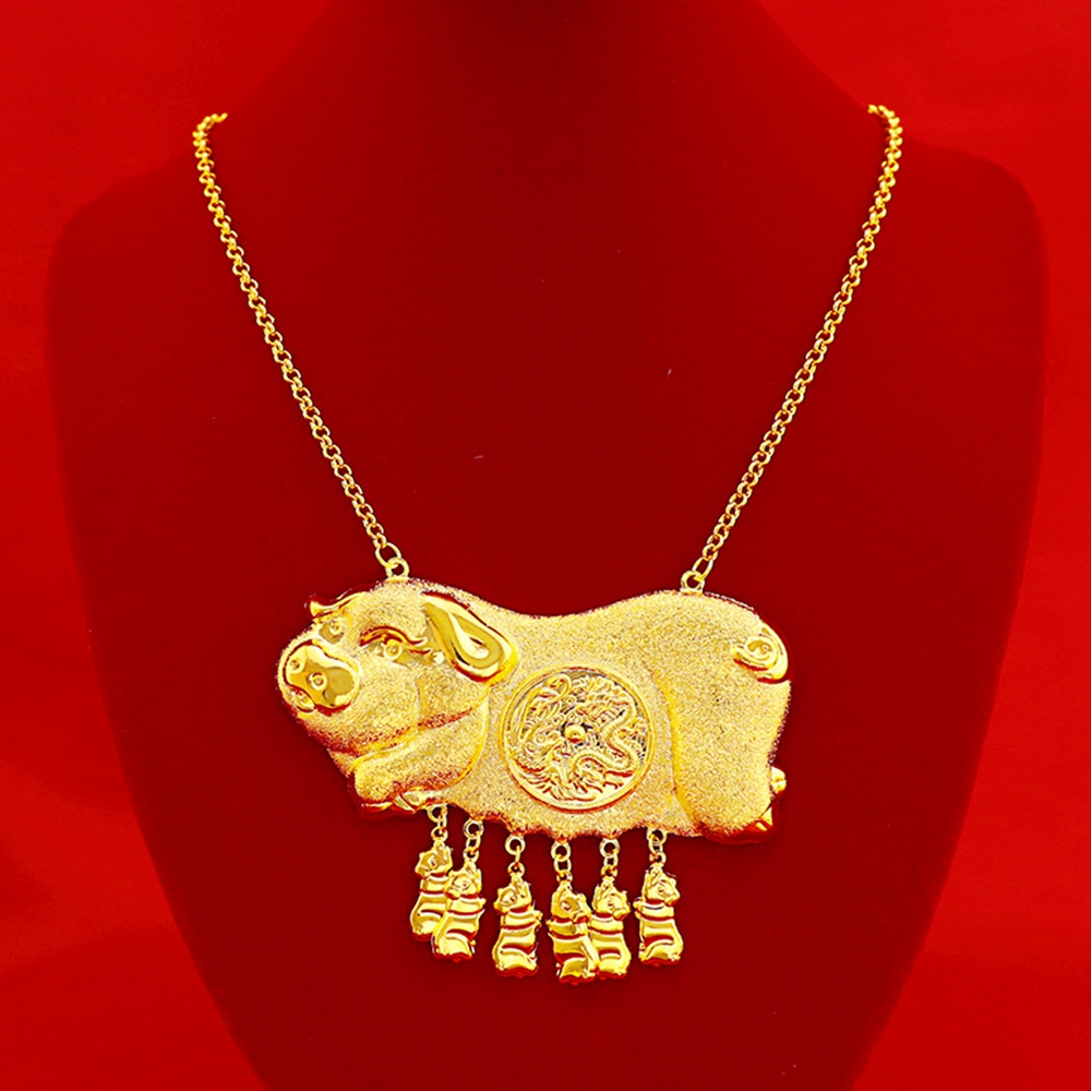 Traditional Wedding Pendant Necklace Yellow Gold Filled Pig Design Bridal Womens Jewelry