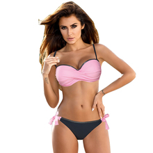 цены на Women Bandeau Pink Push Up Swimsuit Sexy Padded Europe Bikini Set Female Swimwear Summer Beachwear Bathing Suit Bordered Biquini в интернет-магазинах