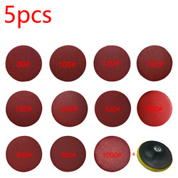 5pcs/set 125mm Red Circular Polishing Discs With Grits 80#-1000# Felt Wheel Polishing Sharpening Sand Paper Tool Accessories