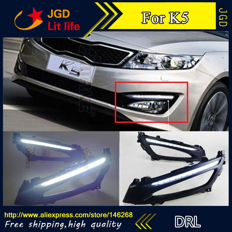 Free shipping ! 12V 6000k LED DRL Daytime running light for Kia K5 2011 fog lamp frame Fog light Car styling free shipping k5 metal shell