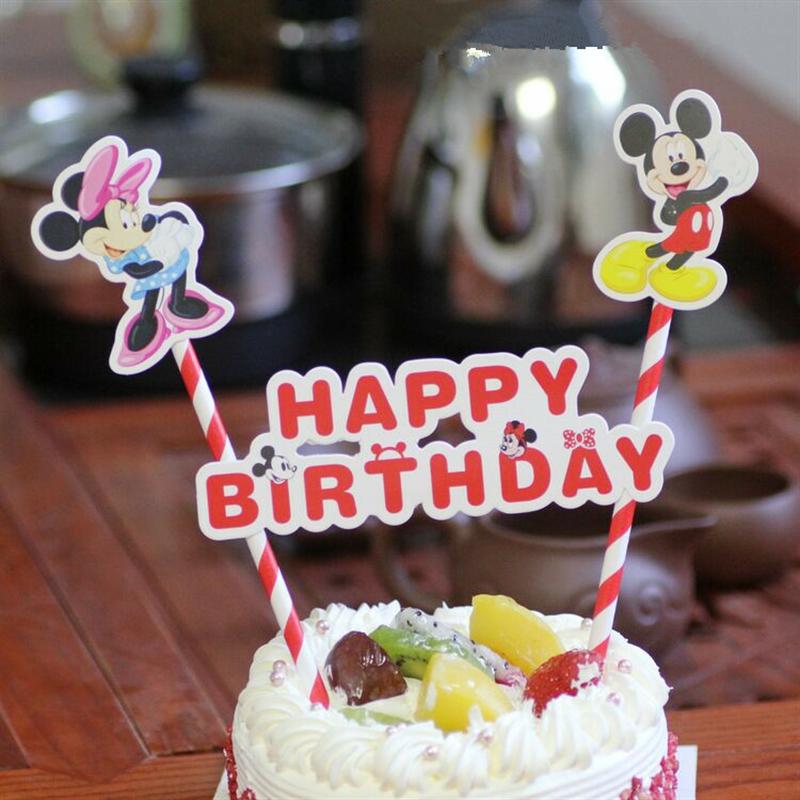Prime 1Set Happy Birthday Mickey Minnie Mouse Cupcake Cake Topper Cake Funny Birthday Cards Online Alyptdamsfinfo