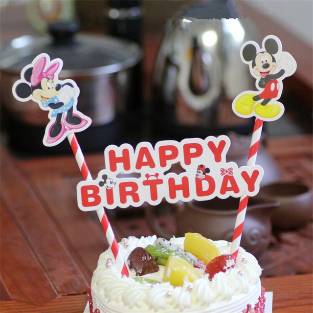 1set Happy Birthday Mickey Minnie Mouse Cupcake Cake Topper Cake
