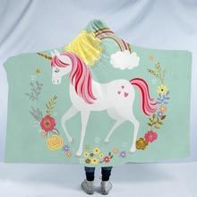 Unicorn Hooded Blanket For Adults Kids Cartoon 3D Printed Sherpa Fleece Wearable Warm Home Travel Picnic