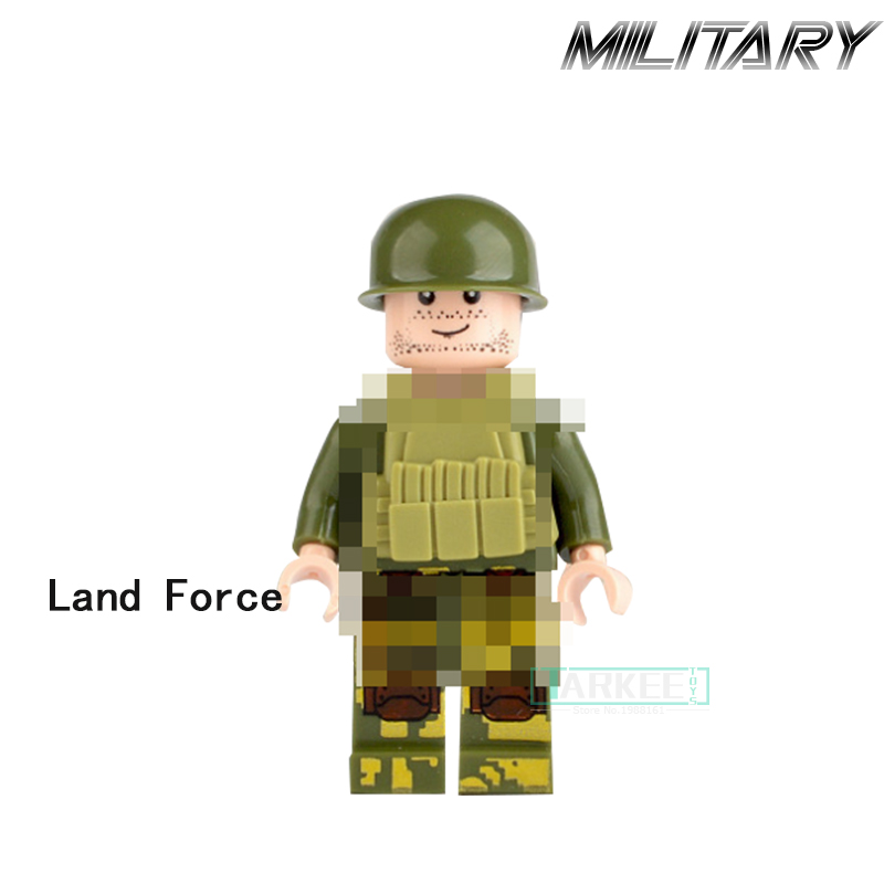 Single Sale Land Force Army Figures Building Blocks Ground Troops Education Soldier Military Best Children Gift Kids DIY Toys