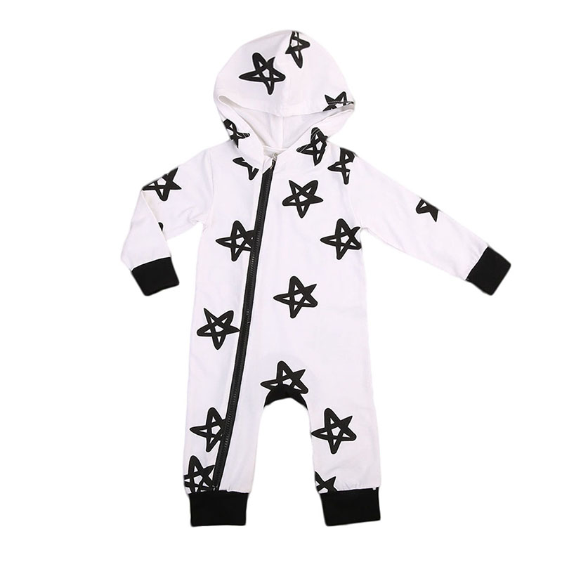 2017 Autumn Star Romper Newborn Infant Baby Boy Girl Long Sleeve Cotton Zipper Jumpsuit Hooded Clothes One pieces Outfits 0-24M newborn infant warm baby boy girl clothes cotton long sleeve hooded romper jumpsuit one pieces outfit tracksuit 0 24m