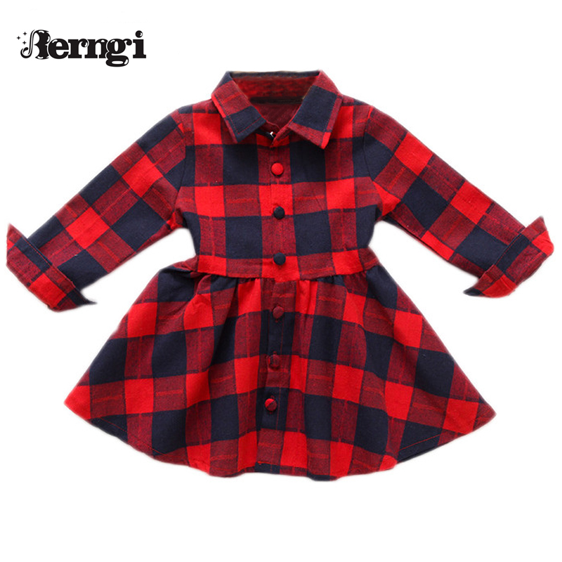 Girl Shirt Dress 2018 New Autumn Brand Girls Clothes Casual Style A-line pure cotton long sleeve plaid shirt Princess Dresses girls dress autumn new 2018 casual