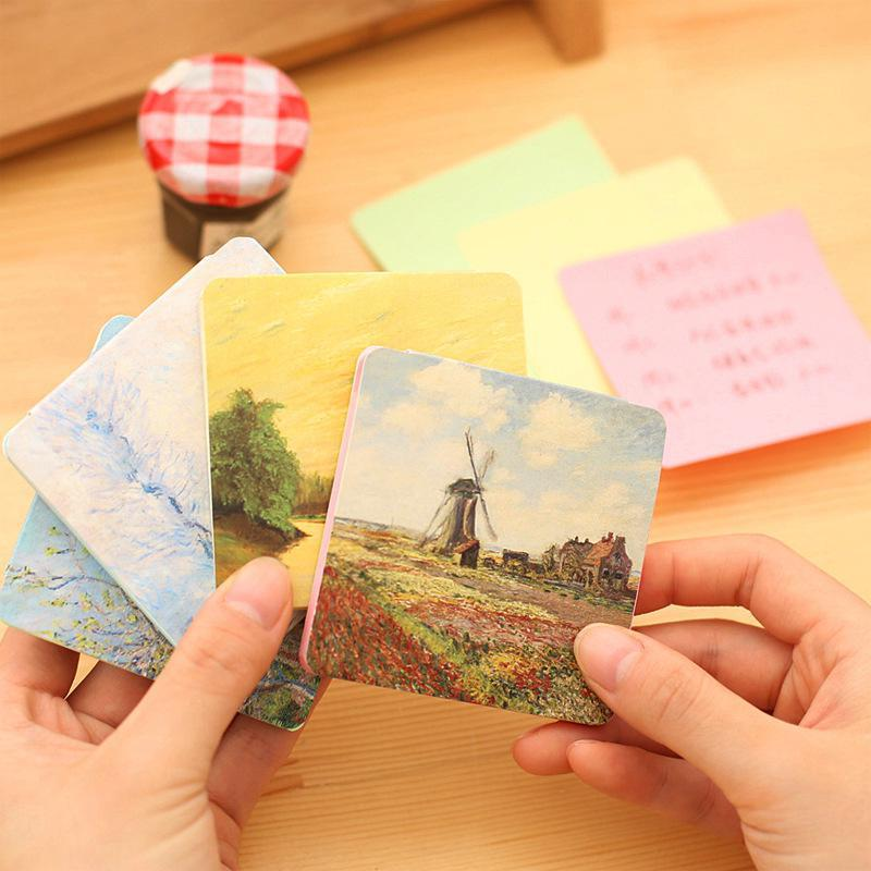 Pastoral Color Sticky Note Post Memo Pad Kawaii Office School Supplies Planner Stickers Bookmarks Korean Stationery Notebooks