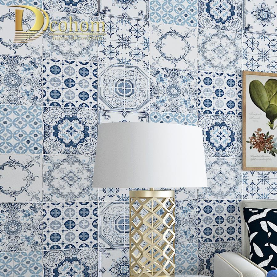 Bohemian Ethnic Style Blue Imitation Tile 3D Wallpaper Vinyl Classic ...