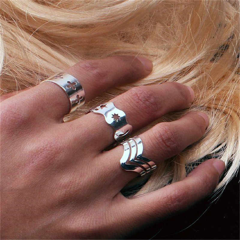Hot Arrival 3Pcs Ring Set Fashion Silver Plated Wavy Star Geometric Ring Knuckle Open Adjustable Ring For Women Men Punk Jewelry