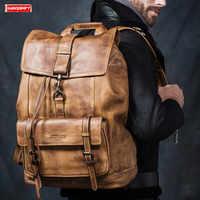 New first layer cowhide large capacity men backpack travel shoulder bag full leather men's laptop backpack bag