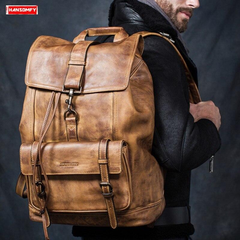Nova primeira camada de couro grande capacidade dos homens mochila de viagem ombro saco de couro completo dos homens mochila portátil