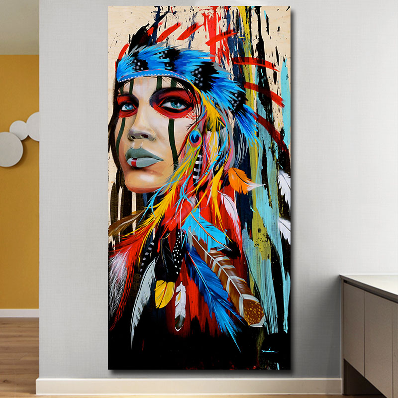 Modern Wall Art Prints Coloful Girl Feathered Women Canvas Painting For Living Room Home Decor free shipping Unframed