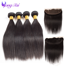 YuYongTai Raw Indian Straight hair 4 Bundles with frontal Natural Color 100% Human hair Weave Bundles For Hair Solan High Ratio