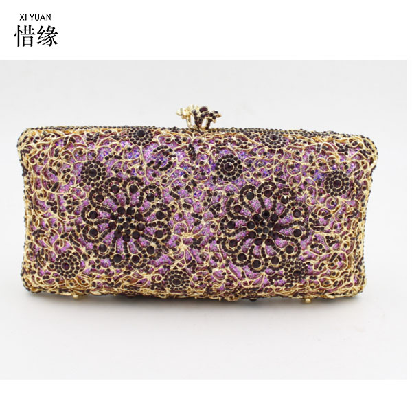 Woman Evening bag for cocktail gold Diamond Rhinestone Clutch bag Crystal Day Clutch Wallet Wedding Purse Party Banquet bag luxury red crystal diamond flower women evening clutch bag bridal wedding sparkly rhinestone cocktail banquet bag tyvek wallet