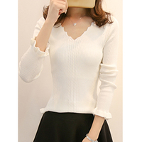 2018 V Neck Fashion Autumn Women S Women S Elastic Sweater All Slim Lace Long Sleeved