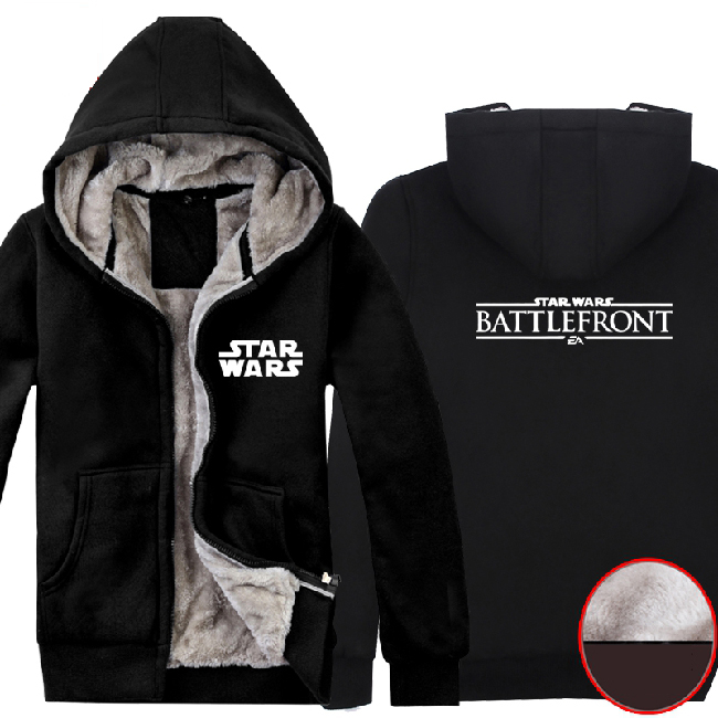 2015 Game Star Wars Battlefront Hoodie Black Mens Casual Fleece Super Warm Winter Hooded Zip up Coat Sweatshirt