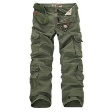 2017 New Men's Cargo Pants Casual Mens Pant Multi Pocket Military Overall Men Outdoors High Quality Long Trousers 30-46