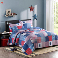 Home Textile 3pcs Grid Patchwork Quilt Bedspread Pillowcase Blue Red Star Bed Cover 100 Cotton European
