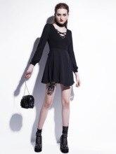 Women Gothic V-Neck Dress Winter Black Retro Choker A-Line High Waist Lace Up Goth Mesh Lantern Sleeve Autumn
