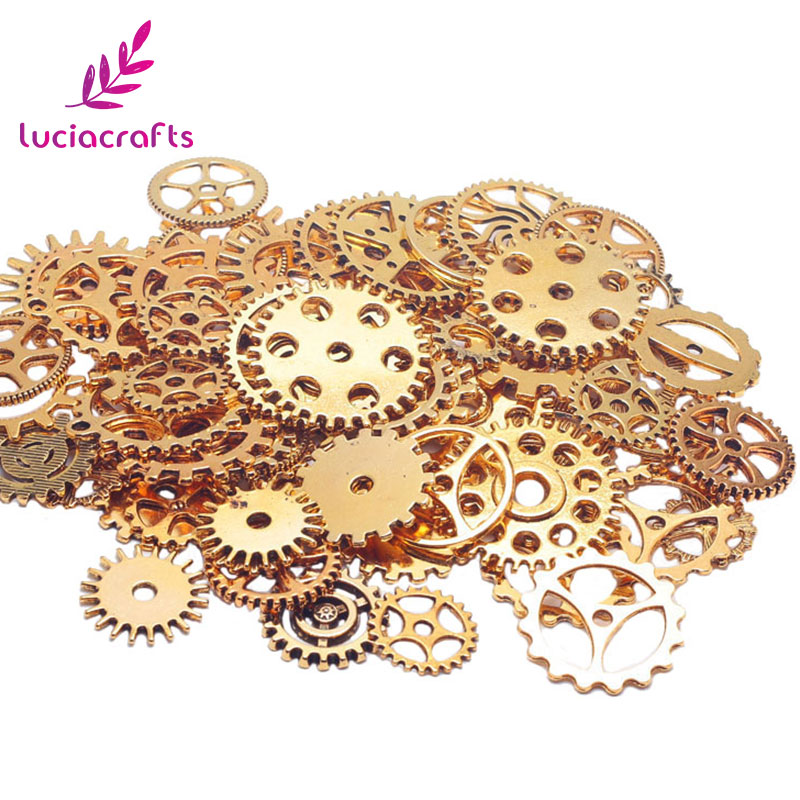 with matching Free EarRings 16 different colors to choose from ??? Sparkly Steampunk Gear Flower