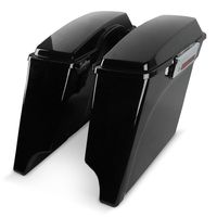 Vivid Black Extended Stretched Hard Saddlebags With Latchs Key For Harley Touring FLH FLT 1993 2013 Road King Road Street Glide