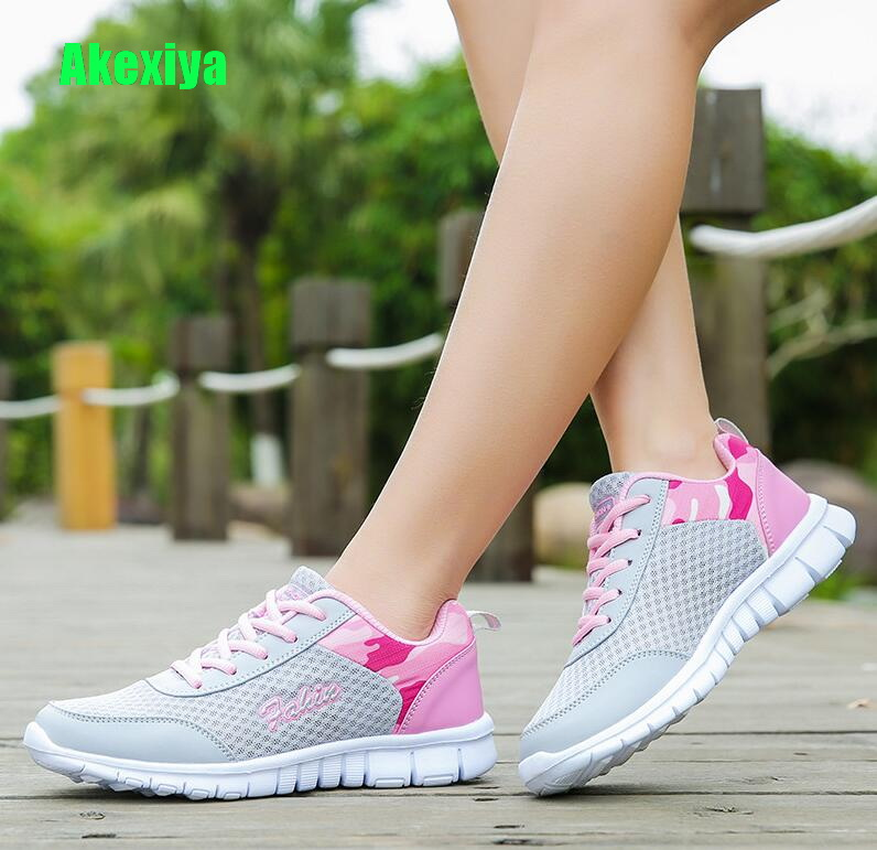 Akexiya 2018 New Light Sneakers Women Summer Breathable Mesh Ladies Casual Shoes Woman Walking Outdoor Sport Comfortable Flats цена