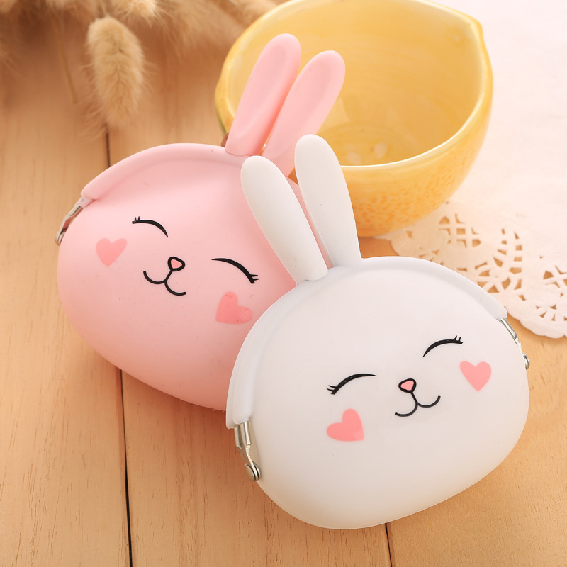 Mini Cute Cartoon Pink Lovely Rabbit Soft Silicone Coin Purse Women's Wallet Candy Color Change Pouch Girls Key Bag Kid Gift 3