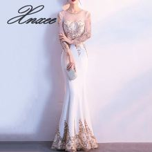 Sequined Beaded Mesh Wrist Sleeve Elegant Long Gown Luxury Party Dresses Women Sexy Formal Dress
