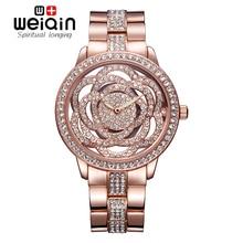 WEIQIN Роскошный Розового Золота часы с бриллиантами Полный нержавеющей стали женщины Повелительницы Часы Моды Платье Часы Relogio Feminino