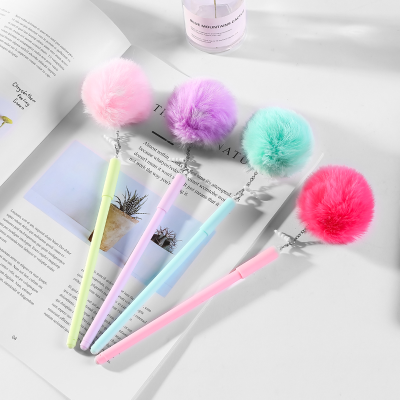 12Pcs Fluffy Plush Kawaii Gel Pen Creative Ball Pendant Novelty Fun Kids Gift School Office Supply Stationery Thing Party Favors(China)