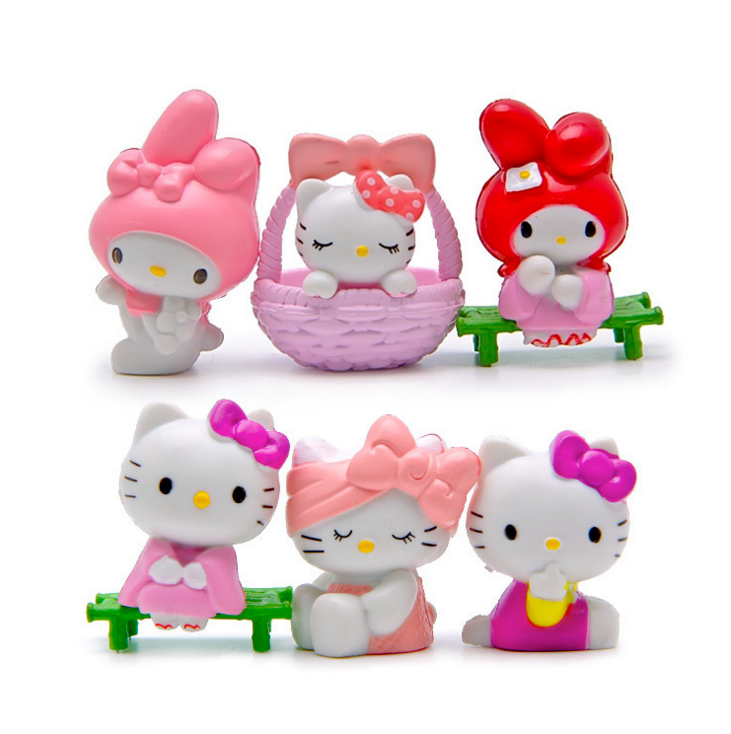 6Pcs/set Kawaii Hello Kitty Action Figures Toys Cute Anime Kitty Doll Plastic PVC Toy Kids Gifts free shipping 1 pcs 7 5 19cm lovely small hold heart hello kitty plush toys baby toy hello kitty doll girls christmas gifts