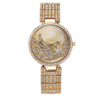 Phoenix Auspicious Woman Watches 2016 Brand Luxury Quartz Watch Women Top Rhinestone Diamond Gold Female Clock