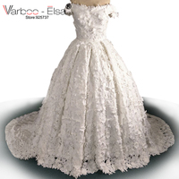 VARBOO_ELSA Robe de Mariage 2018 Fantastic 3D kwiat Suknia Balowa Suknia Ślubna Aplikacja Sexy Dekolt cap Sleeve Vestido De Novia