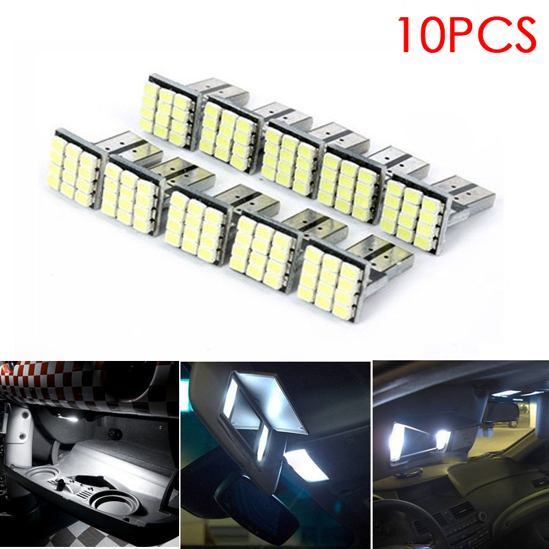 <font><b>10</b></font> <font><b>pcs</b></font> 12 V Car Lights White <font><b>T10</b></font> <font><b>LED</b></font> 12 SMD Car License Plate Light Tail Bulb 2825 192 194 168 W5W CSL2017 image