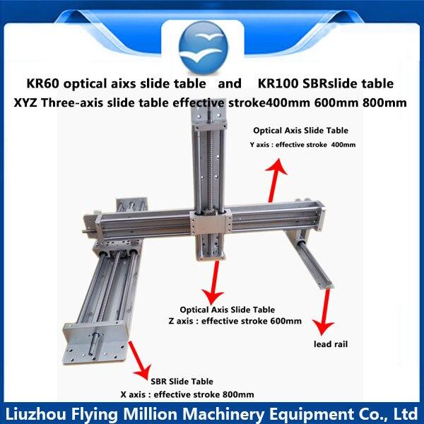 Guidage linéaire manuel 1605 vis à billes tige XYZ trois axe table coulissante module