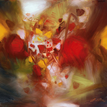 abastract art contemporary abstract paintings masterpiece reproduction passion by  Chu Teh-Chun art недорого