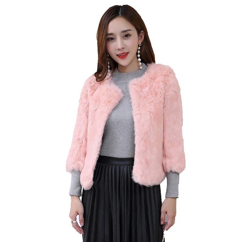 Plus size S - 6XL real rabbit fur jackets women O neck whole skin real fur coats genuine leather fur outerwear custom make