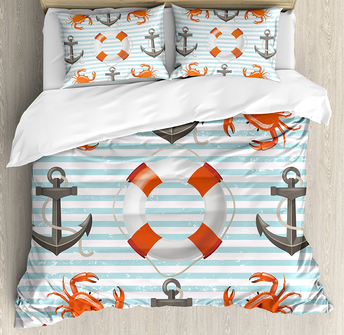 Nautical Duvet Cover Set, Life Rings Anchor And Ropes Ocean Crabs Coastal Theme Teal Striped Print, 4 Piece Bedding Set